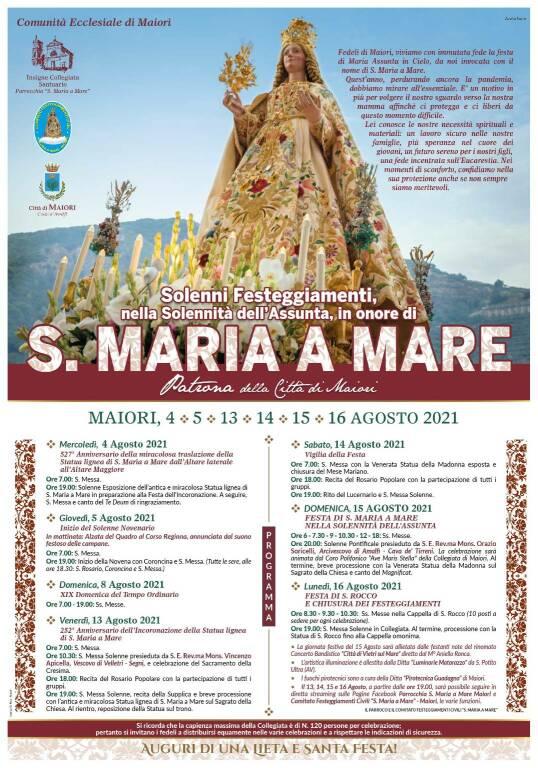 Maiori, celebra la festa patronale in onore di S.Maria a Mare, ecco il programma