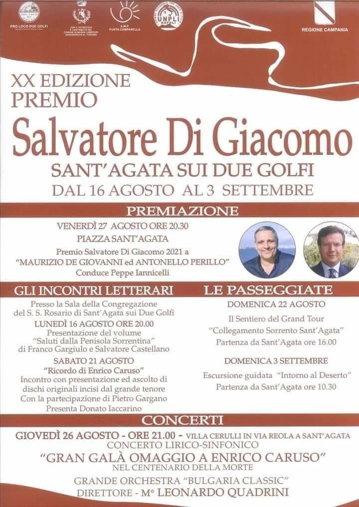 Massa Lubrense: a Sant'Agata la ventesima edizione del premio Salvatore Di Giacomo