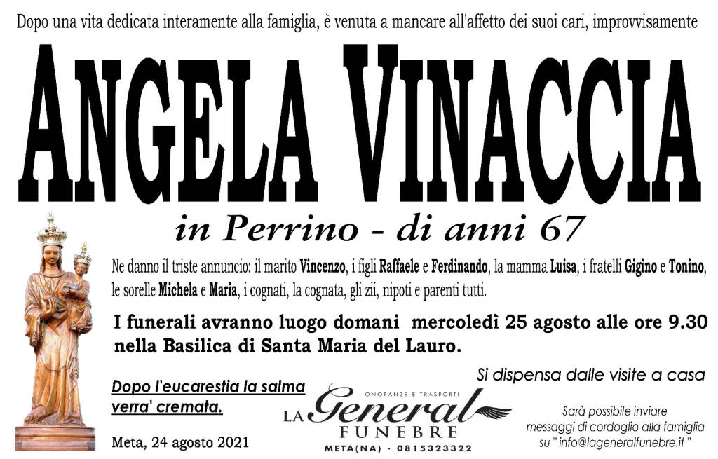 Meta in lutto: all'età di 67 anni è venuta a mancare Angela Vinaccia, in Perrino