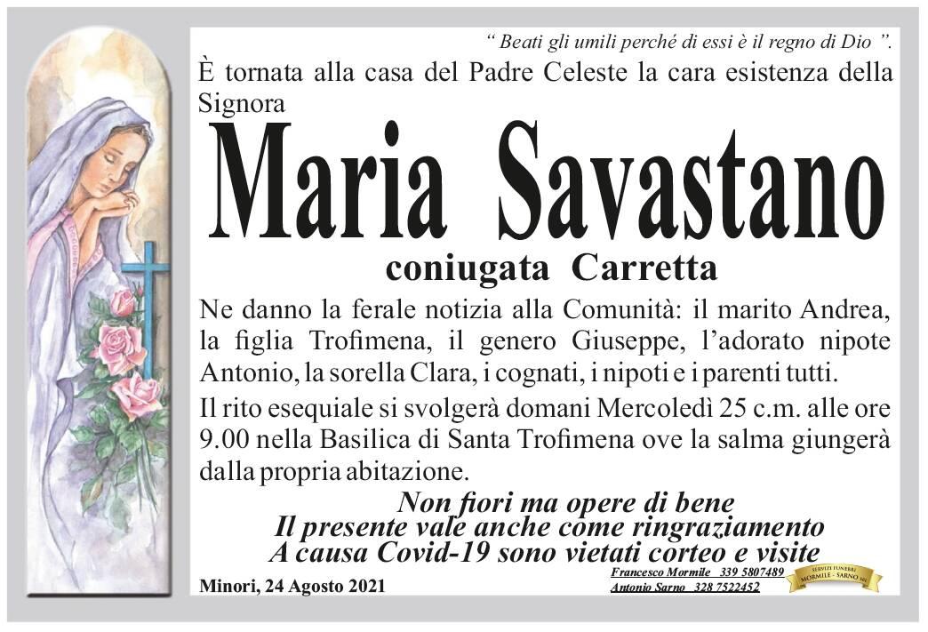 Minori: Maria Savastano, coniugata Carretta, è tornata alla Casa del Padre