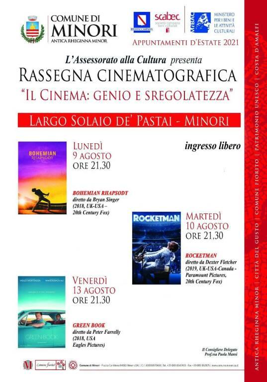 """Minori, Rassegna cinematografica """"Il Cinema, genio e sregolatezza"""". Ecco il programma"""