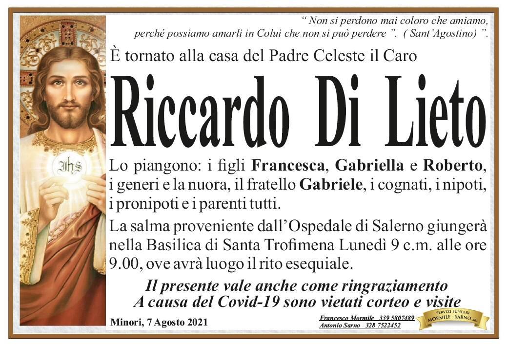 Minori: Riccardo Di Lieto è tornato alla casa del Padre Celeste