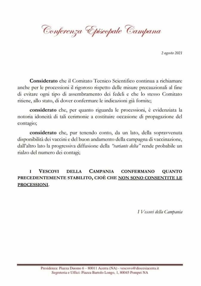 Niente processioni a Ferragosto: le indicazioni della Chiesa
