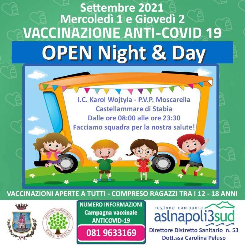 Open day a Castellammare di Stabia: vaccini per tutti mercoledì 1 e giovedì 2 settembre dalle 8.00 alle 23.30