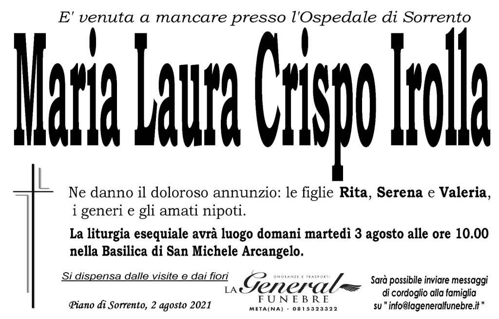 Piano di Sorrento in lutto: è venuta a mancare Maria Laura Crispo Irolla
