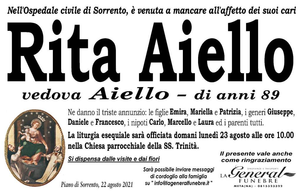 Piano di Sorrento piange Rita Aiello, vedova Aiello, scomparsa all'età di 89 anni