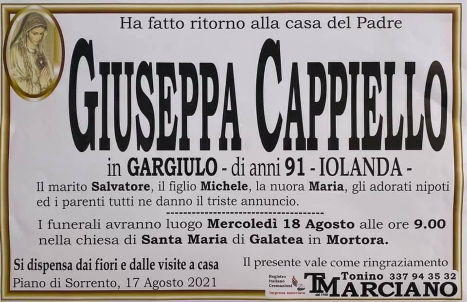 Piano di Sorrento porge l'estremo saluto alla 91enne Giuseppa Cappiello (Iolanda)