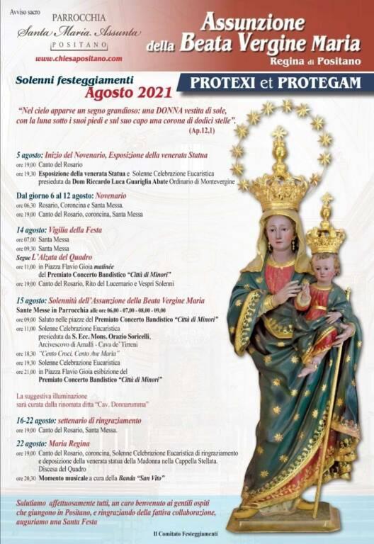 Positano, ecco il programma per i festeggiamenti della Madonna Assunta