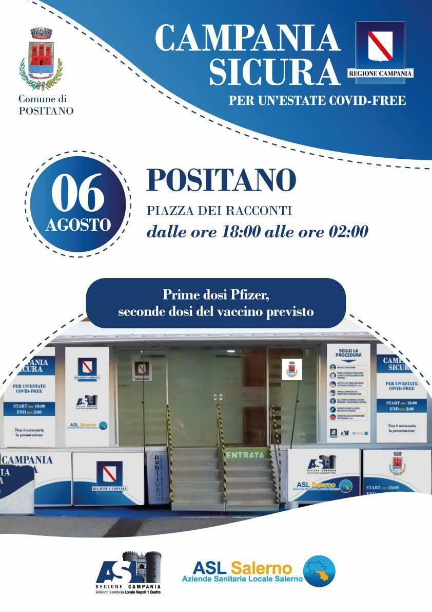 """Positano, per un' estate Covid free, venerdì """"Open day"""" di vaccini in Piazza dei Racconti anche per i turisti"""