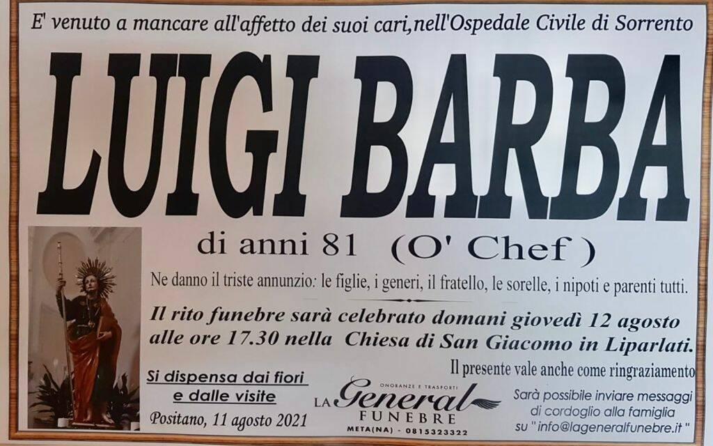 "Positano piange la perdita di Luigi Barba ""O' Chef"""