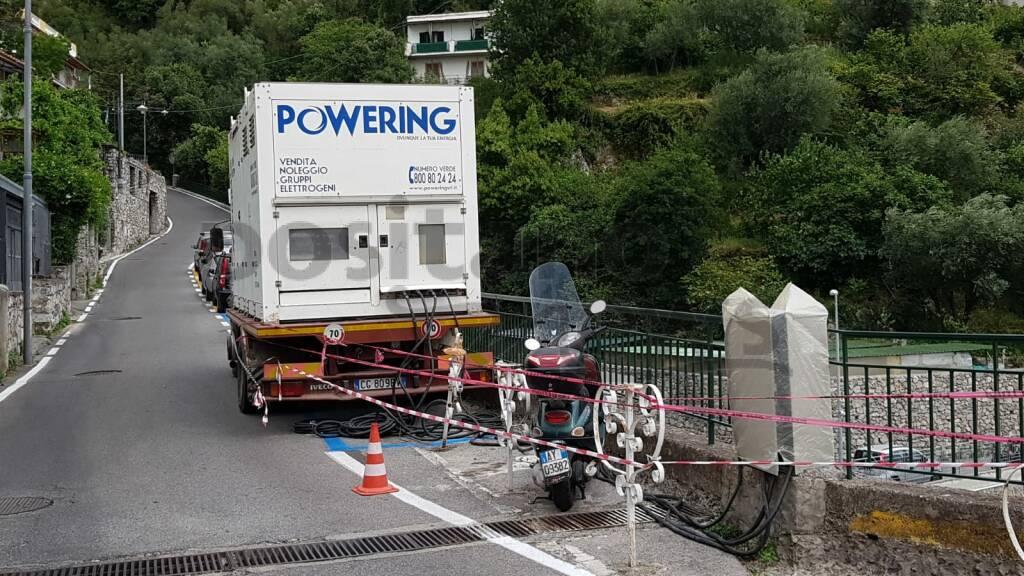 Positano, ripristinata l'energia elettrica grazie all'ausilio di generatori