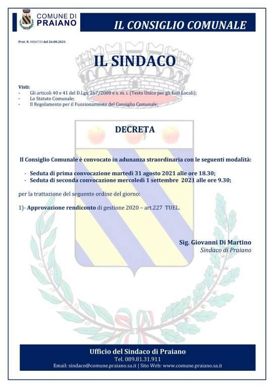 Praiano, convocato il consiglio comunale in adunanza straordinaria per l'approvazione del rendiconto di gestione 2020