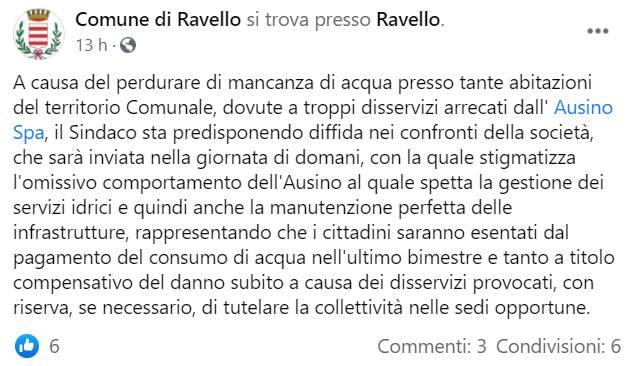 Ravello: il sindaco prepara la diffida nei confronti dell'Ausino, cittadini esentati dal pagamento dell'ultima bolletta