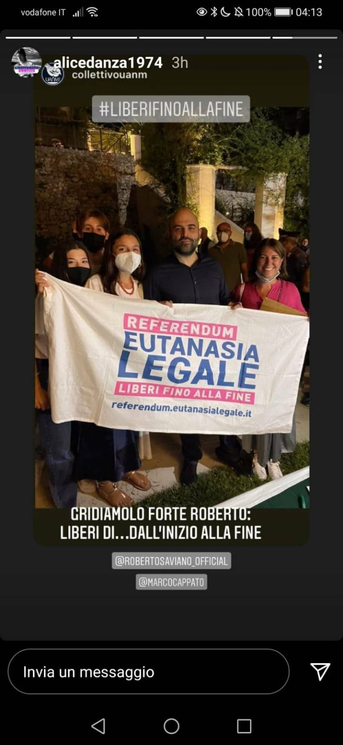 Roberto Saviano firma per Eutanasia