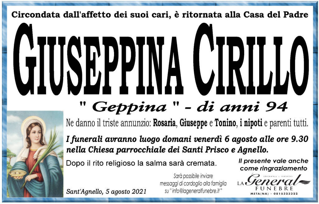 """Sant'Agnello a lutto per la dipartita di Giuseppina Cirillo detta """"Geppina"""""""