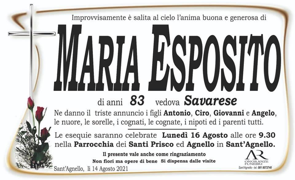 Sant'Agnello piange la scomparsa dell'83enne Maria Esposito, vedova Savarese