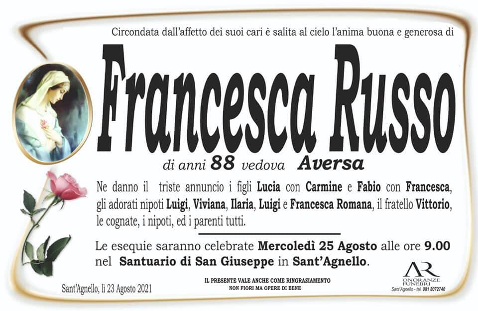 Sant'Agnello piange la scomparsa dell'88enne Francesca Russo, vedova Aversa