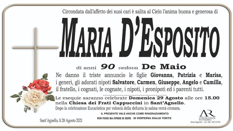 Sant'Agnello porge l'estremo saluto alla 90enne Maria D'Esposito, vedova De Maio