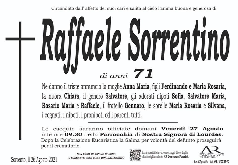 Sorrento, ci lascia il 71enne Raffaele Sorrentino