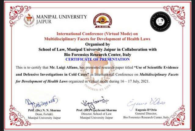 Sorrento, l'Avv. Luigi Alfano collabora con la Scuola di Giurisprudenza dell'Università Manipal Jaipur