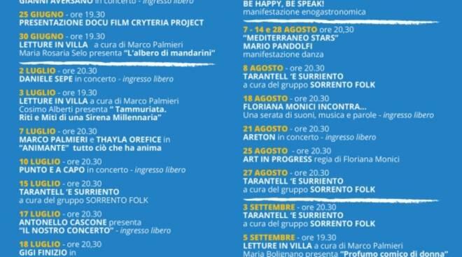 Sorrento: musica, tarantella e danza nei prossimi appuntamenti a Villa Fiorentino