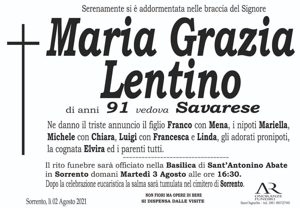 Sorrento piange la scomparsa della 91enne Maria Grazia Lentino, vedova Savarese