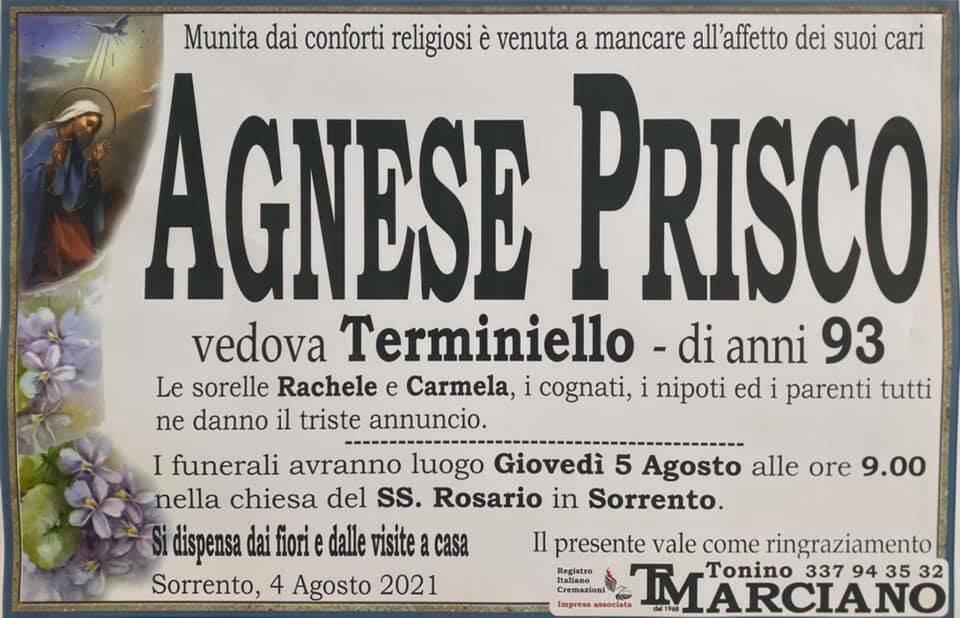 Sorrento piange la scomparsa della 93enne Agnese Prisco, vedova Terminiello