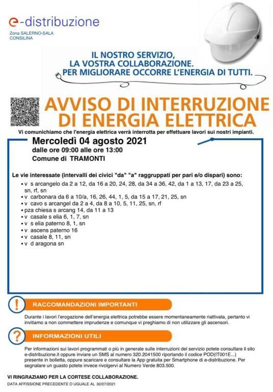 Tramonti, il 4 agosto interruzione dell'energia elettrica. Ecco le strade interessate