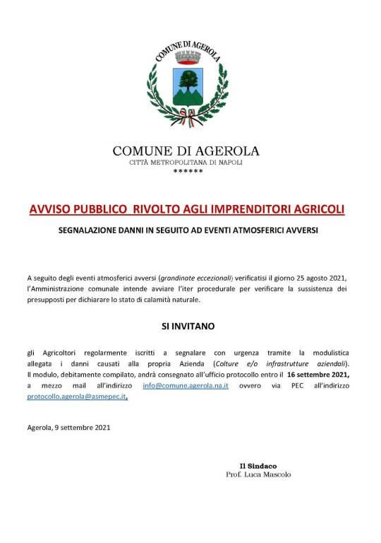 Agerola, l'invito agli agricoltori a segnalare i danni causati dai recenti eventi atmosferici avversi