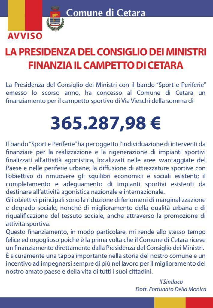 Cetara: il Consiglio dei Ministri finanzia il campetto sportivo per 365.287,98 €