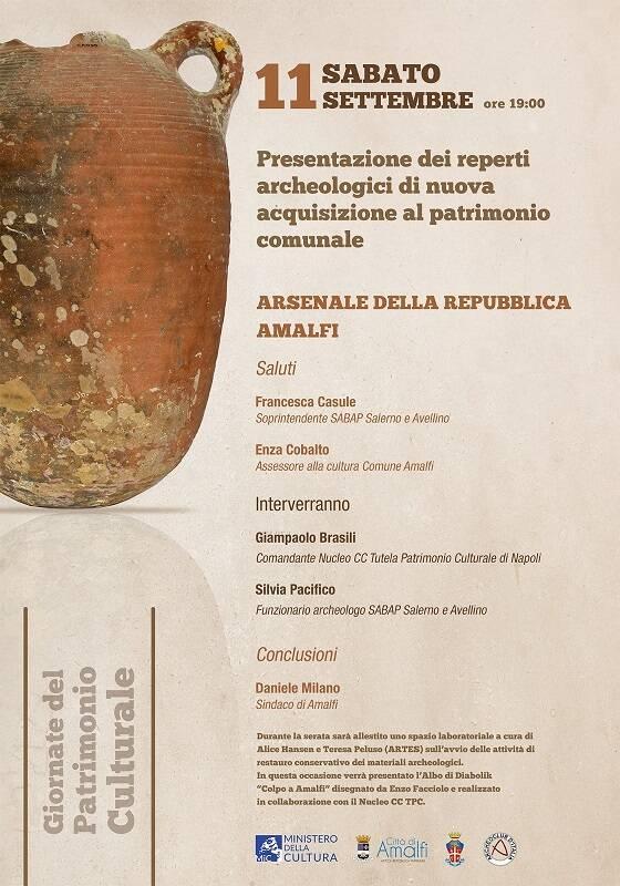 Dai fondali marini della Costiera 110 reperti archeologici arricchiranno il museo dell'Arsenale della Repubblica di Amalfi