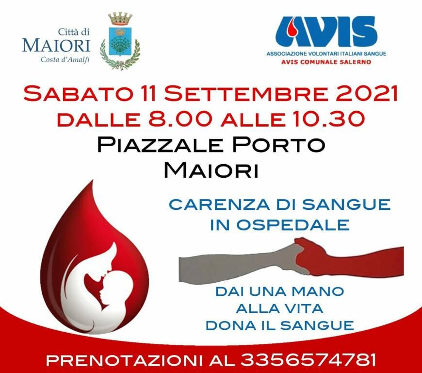 Maiori, sabato 11 settembre sarà possibile donare il sangue presso il Piazzale del Porto