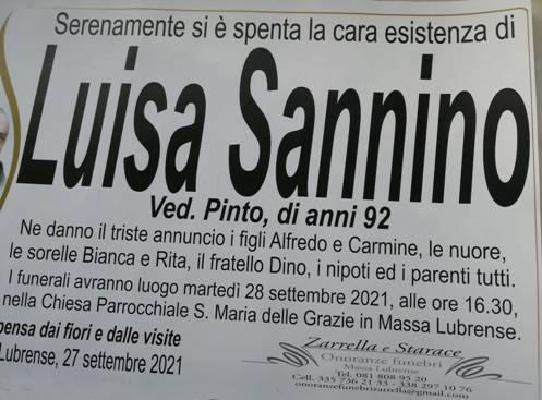 Massa Lubrense porge l'estremo saluto alla 92enne Luisa Sannino, vedova Pinto
