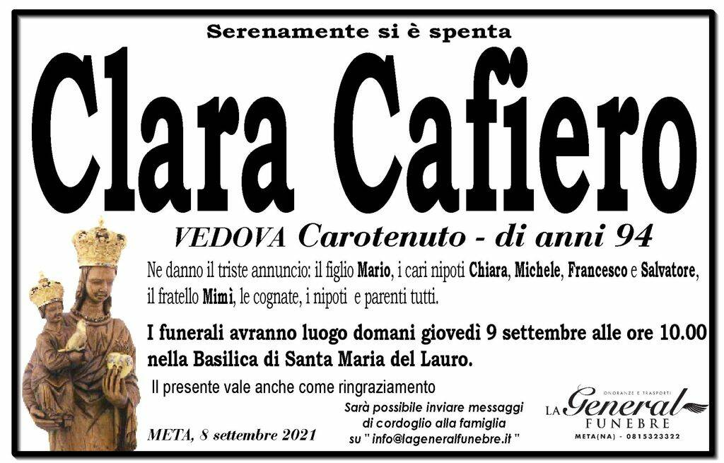 Meta piange la 94enne Clara Cafiero, vedova Carotenuto