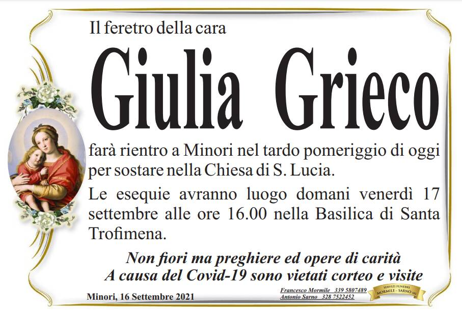 Minori piange la scomparsa di Giulia Grieco