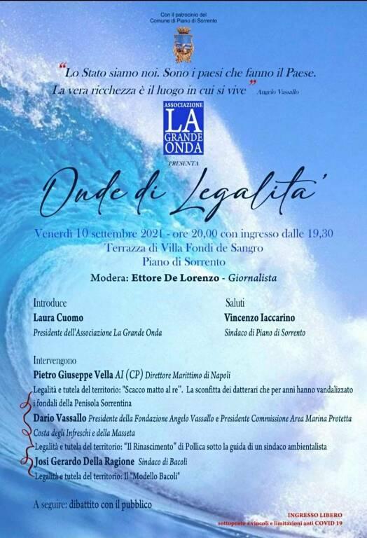 Piano di Sorrento: Ambiente e legalità, in programma per il 10 settembre l'incontro Onde di Legalità