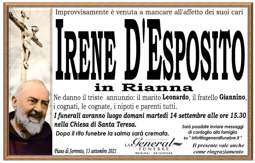 Piano di Sorrento porge l'estremo saluto ad Irene D'Esposito in Rianna