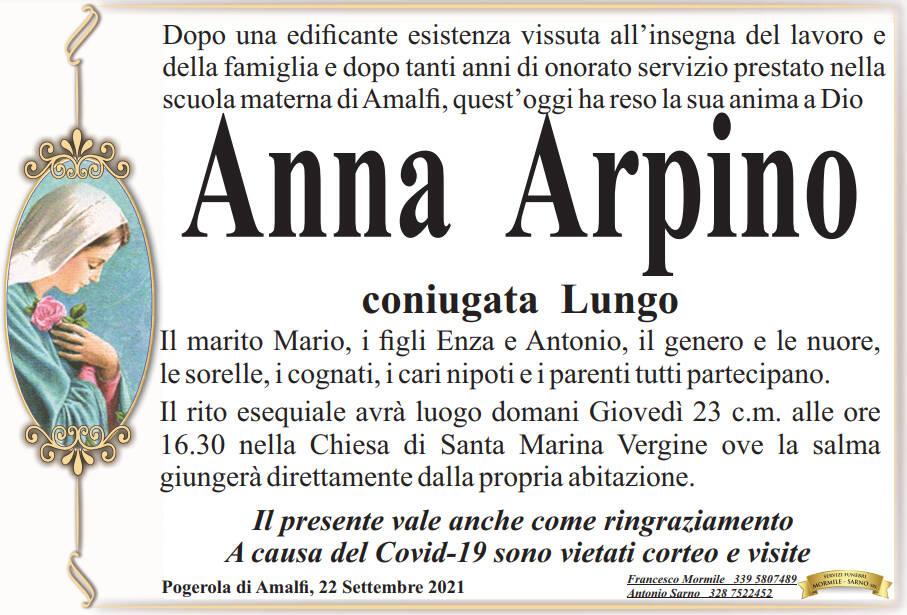 Pogerola di Amalfi piange la scomparsa di Anna Arpino, coniugata Lungo
