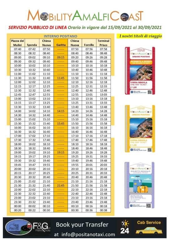 Positano, gli orari della Mobility Amalfi Coast in vigore dal 15 al 30 settembre 2021