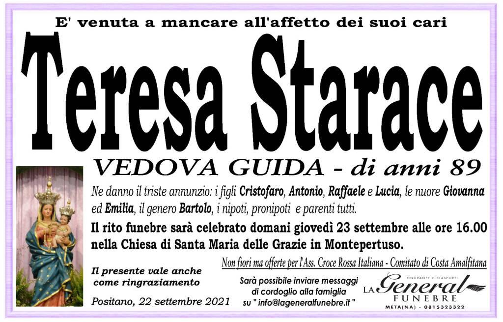 Positano porge l'estremo saluto all'89enne Teresa Starace, vedova Guida