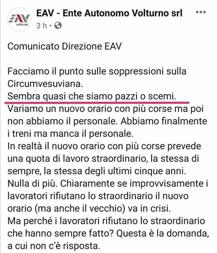 """Sant'Agnello, le parole di Rosario Lotito sul comunicato EAV: """"Siamo pazzi e pure scemi!!!!"""""""