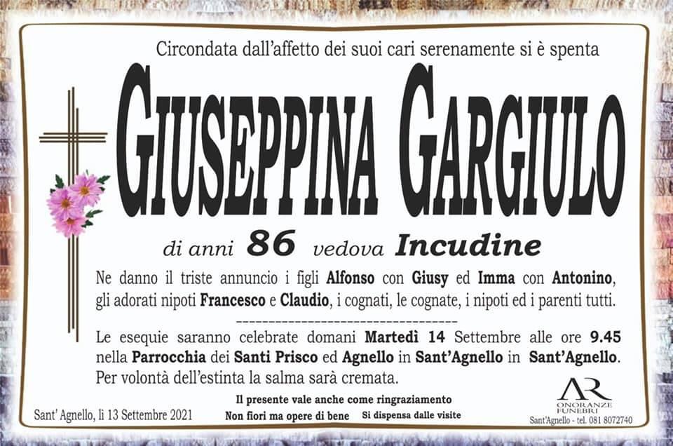 Sant'Agnello piange la scomparsa dell'86enne Giuseppina Gargiulo, vedova Incudine