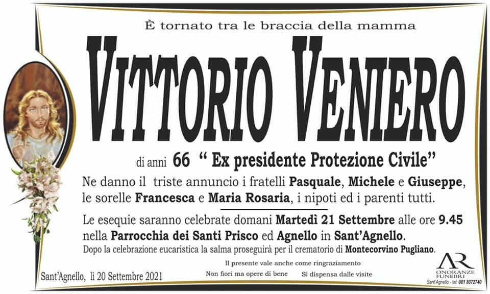 Sant'Agnello porge l'estremo saluto al 66enne Vittorio Veniero, ex presidente Protezione Civile