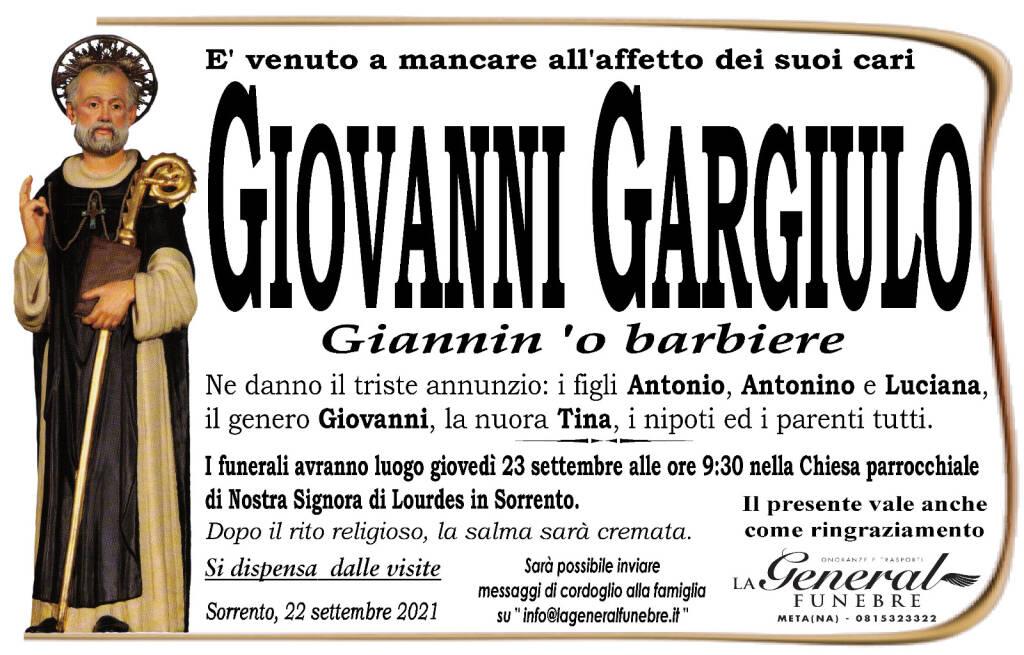 """Sorrento, è venuto  a mancare all'affetto dei suoi cari Giovanni Gargiulo """"Giannin 'o barbiere"""""""