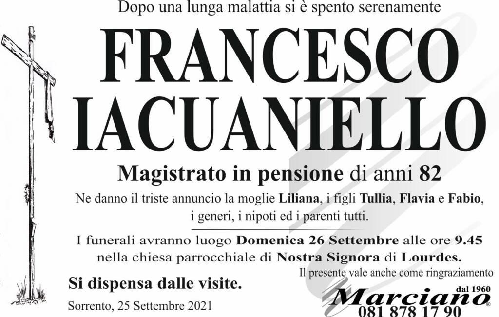 Sorrento in lutto per la scomparsa dell'82enne Francesco Iacuaniello, Magistrato in pensione