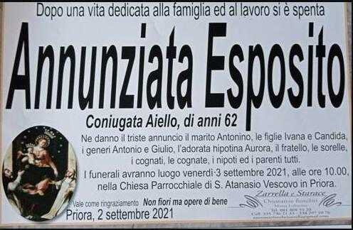 Sorrento, la frazione di Priora piange la scomparsa della 62enne Annunziata Esposito