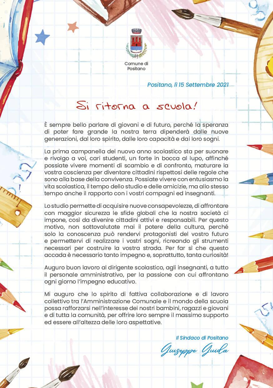 Suona la campanella a Positano: la pergamena del sindaco a tutti gli studenti per l'inizio del nuovo anno scolastico