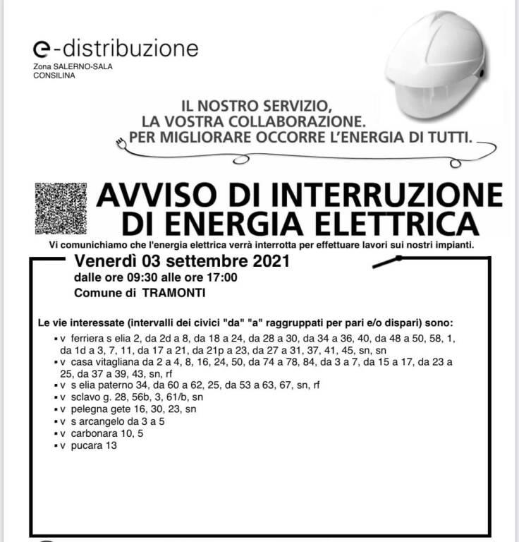 Tramonti, venerdì 3 settembre interruzione elettrica per lavori. Ecco le strade interessate