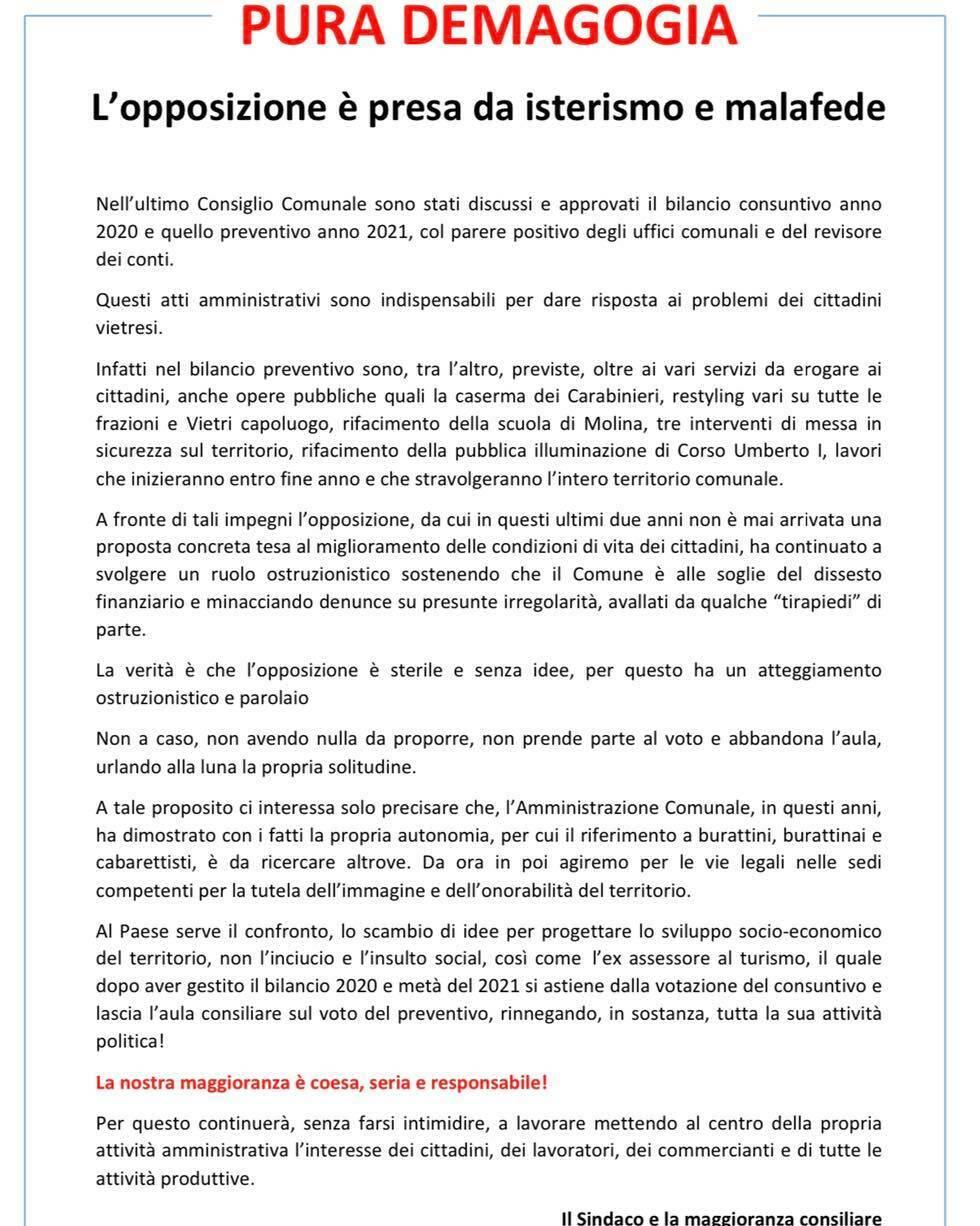 """Vietri sul Mare, il sindaco e la maggioranza consiliare: """"Pura demagogia, l'opposizione è presa da isterismo e malafede"""""""