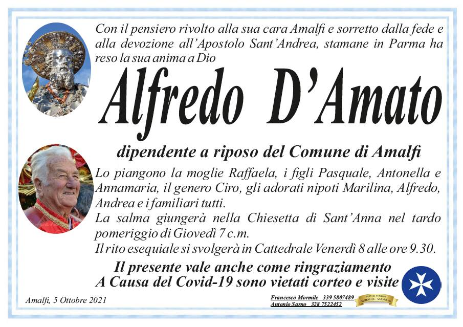 Amalfi in lutto per la scomparsa di Alfredo D'Amato